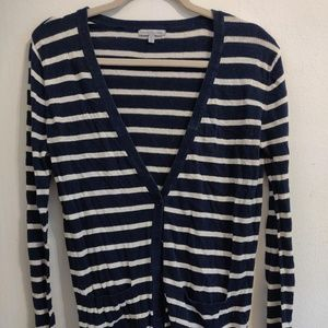 long line vertical striped cardigan